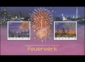 Österreich Block 34 Feuerwerk mit aufgeklebten Kristallen, **