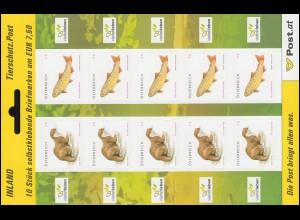 2847-2848 Tierschutz: Fischotter und Bachforelle, Folienblatt, **