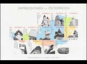 3183-3198 Impressionen aus Österreich, zwei Folienblätter, Sonderdrucke der Post