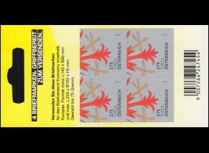 3316 Heraldik Tirol - Folienblatt mit 4mal 170 Cent, postfrisch **