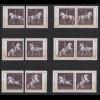 1395-1400 Block 2 Reitschule mit 6 ZD und 6 Einzelmarken, Zusammendruck-Set **