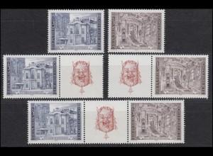 1507-1508 Block 3 Burgtheater Wien mit 3 ZD und 2 Einzelmarken, Set **