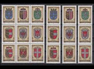 1522-1530 Block 4 Wappen der Bundesländer mit 19 ZD und 9 Einzelmarken, Set **
