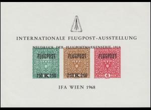 Gedenkblatt 5 Flugpostausstellung IFA WIEN 1968