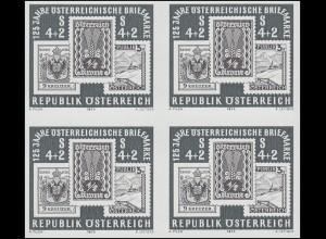 Gedenkblatt 6 Briefmarkenausstellung WIEN 1975 als Schwarzdruck-Viererblock