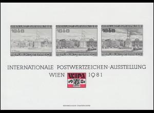 Gedenkblatt 7 Briefmarkenausstellung WIEN 1981 als Schwarzdruck