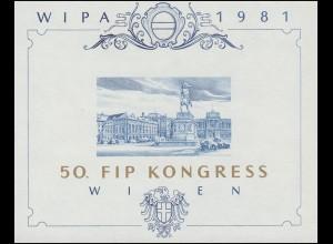 Gedenkblatt 8 Block 5 Ausstellung WIPA 1981 als Blaudruck zum FIP-Kongress