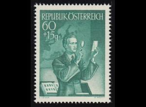 957 Tag der Briefmarke, Sammler prüft eine Marke, 60 g + 15 g, postfrisch **