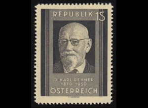 959 Tod von Karl Renner, Karl Renner (1870-1950) Bundespräsident, 1 S, **
