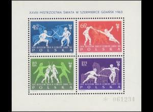 Polen Block 29 Fecht-Weltmeisterschaften Danzig 1963, **