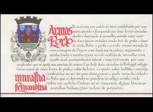 Portugal-Markenheftchen 1739 BuS Befestigungsmauern von Porto, ESSt 19.1.88