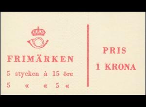 Markenheftchen 1ab Ziffer / König Gustav VI. Adolf - mit Heftchenblatt 3, **