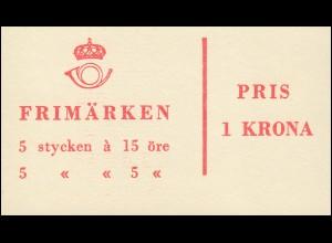 Markenheftchen 1bb Ziffer / König Gustav VI. Adolf - mit Heftchenblatt 4, **