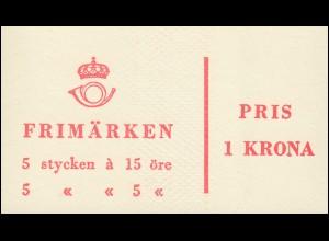 Markenheftchen 3aa Ziffer / König Gustav VI. Adolf - mit Heftchenblatt 9, **