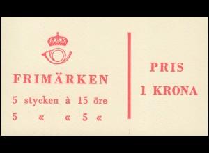Markenheftchen 3bb Ziffer / König Gustav VI. Adolf - mit Heftchenblatt 12, **