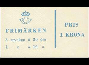 Markenheftchen 4aa Ziffer / König Gustav VI. Adolf - mit Heftchenblatt 13, **