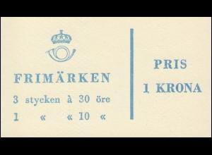 Markenheftchen 4ab Ziffer / König Gustav VI. Adolf - mit Heftchenblatt 14, **