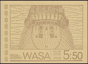 Markenheftchen 21 Kriegsschiff WASA, ** postfrisch