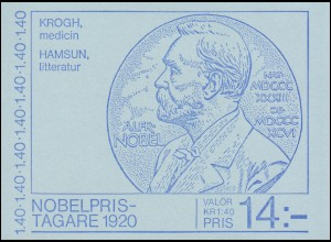 Markenheftchen 79 Nobelpreisträger von 1920 mit 1129-1130, **