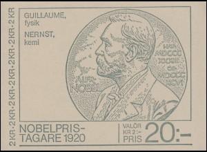 Markenheftchen 80 Nobelpreisträger von 1920 mit 1131-1132, **