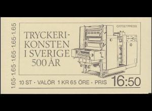 Markenheftchen 92 Druckereigewerbe in Schweden, **