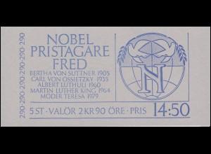 Markenheftchen 118 Friedensnobelpreisträger, **