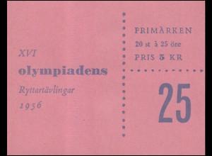 Markenheftchen Reiter-Olympiade 25 Öre 20x 414D, **