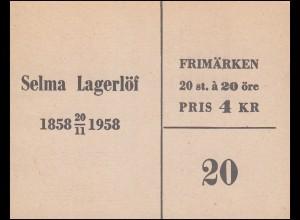 Markenheftchen Selma Lagerhöf 20 Öre 20x 443D, **