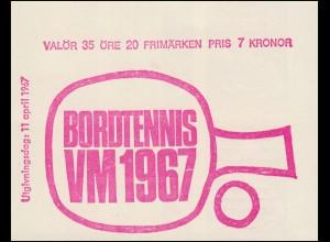 Markenheftchen Tischtennis-WM in Stockholm 20x 578D, **