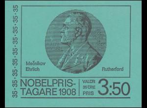 Markenheftchen Nobelpreisträger 1908 35 Öre 10x 626D, **