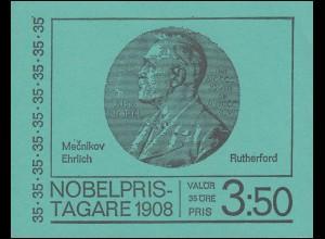 Markenheftchen Nobelpreisträger 1908 35 Öre 10x 626D, mit FN 2 negativ **
