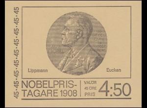 Markenheftchen Nobelpreisträger 1908 45 Öre 10x 627D, **