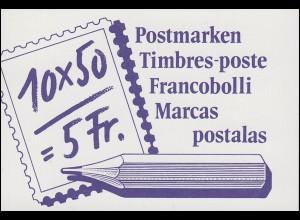 Schweiz Markenheftchen 0-84, Postbeförderung: Der Postbote 1988, ET-O Bern