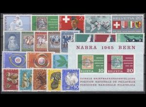 808-830 Schweiz-Jahrgang 1965 komplett, postfrisch **