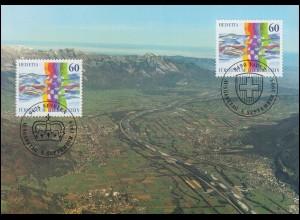1558 Schweiz.-Liechtenstein. Nachbarschaft 1995 mit Liechtenstein 1115 auf MK 12