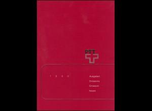 PTT-Jahrbuch Schweiz 1990, alle Marken mit Ersttagsstempel