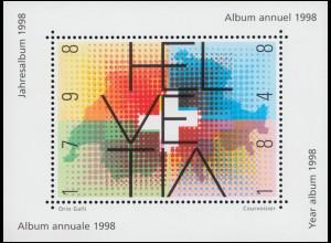Schweiz Vignette aus Jahresalbum / Jahrbuch 1998 Landkarte HELVETIA