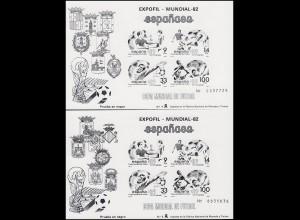 Spanien Block 25 und Block 26 Fußball-WM 1982 - beide als Schwarzdruck im Paar