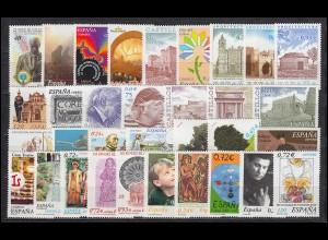 3609-3701 Spanien-Jahrgang 2001 mit Block 97-103 komplett, postfrisch **