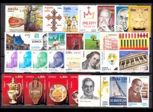 4564-4653 Spanien-Jahrgang 2011 mit Block 204-217 komplett postfrisch **