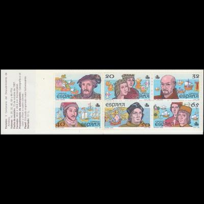 Spanien, Markenheftchen 5, Entdeckung von Amerika, 1987 ** postfrisch / MNH
