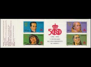 Spanien, Markenheftchen 9, Entdeckung von Amerika 1991, ** postfrisch / MNH