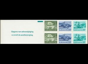 Surinam Markenheftchen 2 Luftpostmarken 20,25,30 Ct., Opgave ... 1976