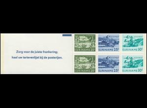 Surinam Markenheftchen 2 Luftpostmarken 20,25,30 Ct., Zorg ... 1976