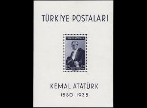 Block 1 Türkei: Kemal Atatürk 1940, postfrisch **