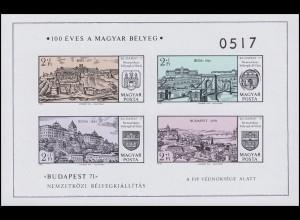 Block 79B BUDAPEST 1971 - Historische Ansichten, 4 Werte, Block ungezähnt **