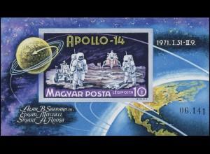Block 80B Weltraumflug APOLLO 14 - Mondlandung 1971, Block ungezähnt **