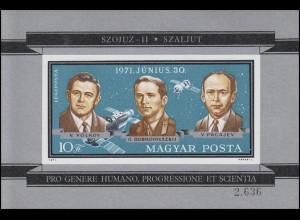 Block 84B Tod sowjetischer Kosmonauten von SOJUS 11, Block ungezähnt **