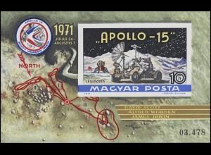 Block 87B Weltraumflug APOLLO 15 - Mondlandung 1972, Block ungezähnt **