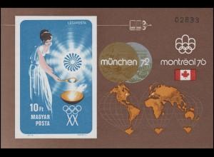 Block 96B Olympia München 1972 und Montreal 1976, Block ungezähnt **
